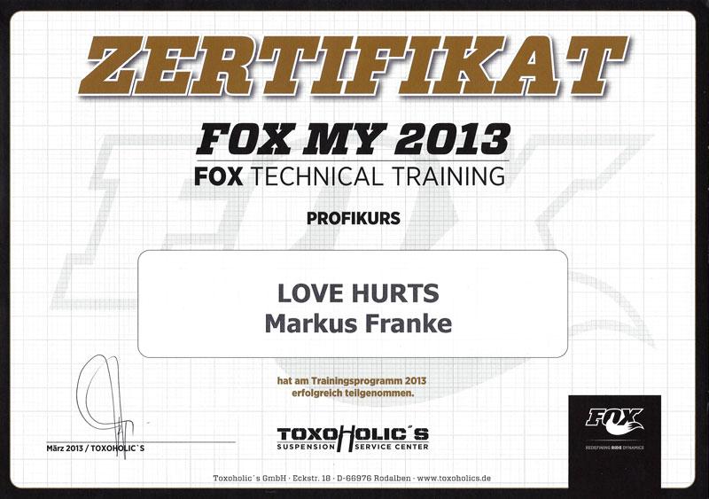 Fox Zertifikat