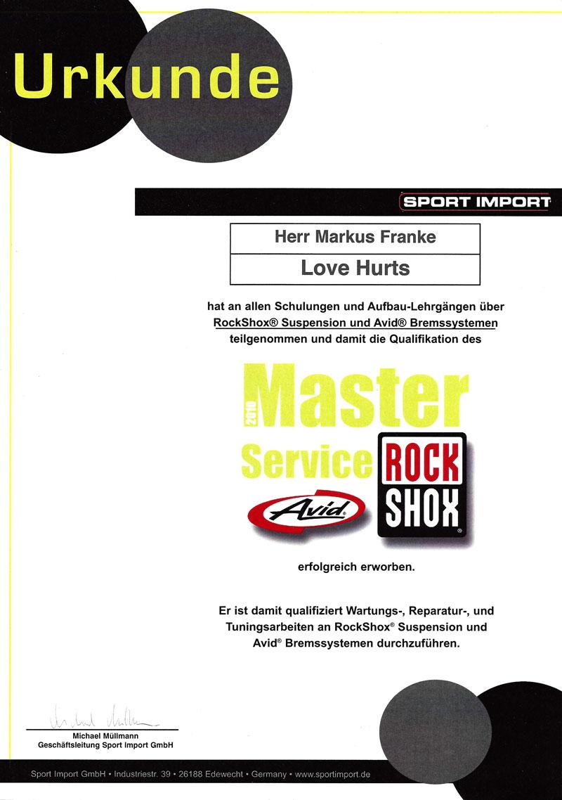 RockShox Avid Zertifikat