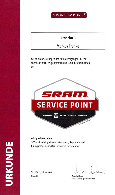 SRAM Zertifikat
